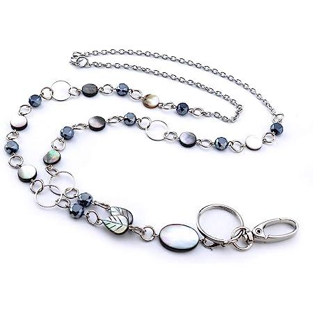 Lanyard Silver Boho Silver Lanyard Simple Modern Women Name Badge Holder Necklace Hand of Fatima Hamsa Hand Lanyard Silver Mask Holder