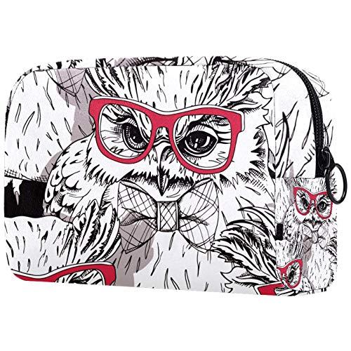 Bolsa de cosméticos para mujeres, búho en gafas rojas y en una imagen de pajarita, bolsas de maquillaje accesorios organizador regalos