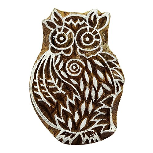 Knitwit Wooden Textile Briefmarken Indian Dekorative Blöcke Brown Owl-Briefmarken für Lehm