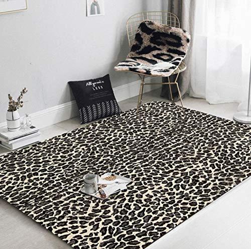 QAQA Fluffy zacht tapijt tapijten nachtkastje gebied tapijten Shaggy lang haar tapijten luipaard bedrukte deurmat keuken hal bad mat 1.3m*1.8m