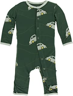 KicKee Pants Bamboo Print Coverall with Snaps (Topiary Italian Car - 12-18 Months)