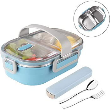 Arderlive Stainless Steel Bento Lunch Box With portable utensils, 2-Compartment Leakproof Portion Control Lunch Container For Kids Or Adults.(Blue)