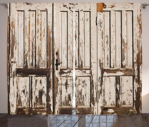 "Ambesonne Rustic Curtains, Vintage House Entrance Vertical Old Planks Distressed Weathered Hardwood Design, Living Room Bedroom Window Drapes 2 Panel Set, 108"" X 90"", Brown White"