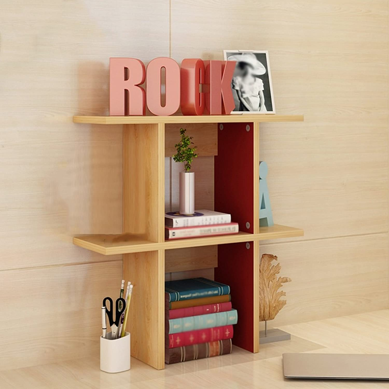 QIANGDA Bookshelf Bookrack Desktop Storage Rack Commodity Shelf Unit Room Divider Shelf, 3 Sizes Optional (Size   60 x 20 x 63cm)