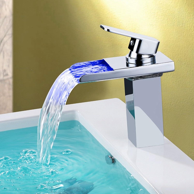 Contemporary Chrome LED Temperature Control Faucet Bathroom Sink Faucets Ceramic Valve Single Handle One Hole Basin Faucet