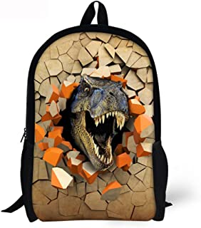 Cool School Bags For Boys 3D Dinosaur Anime Water-Resistant Fashion Backpack