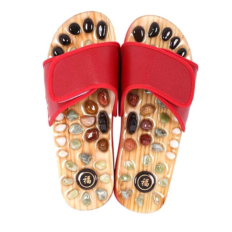 耐える先見の明机マッサージスリッパ、指圧フットマッサージャースリッパストーンサンダル靴リフレクソロジー用女性男性,Red,40and41yards