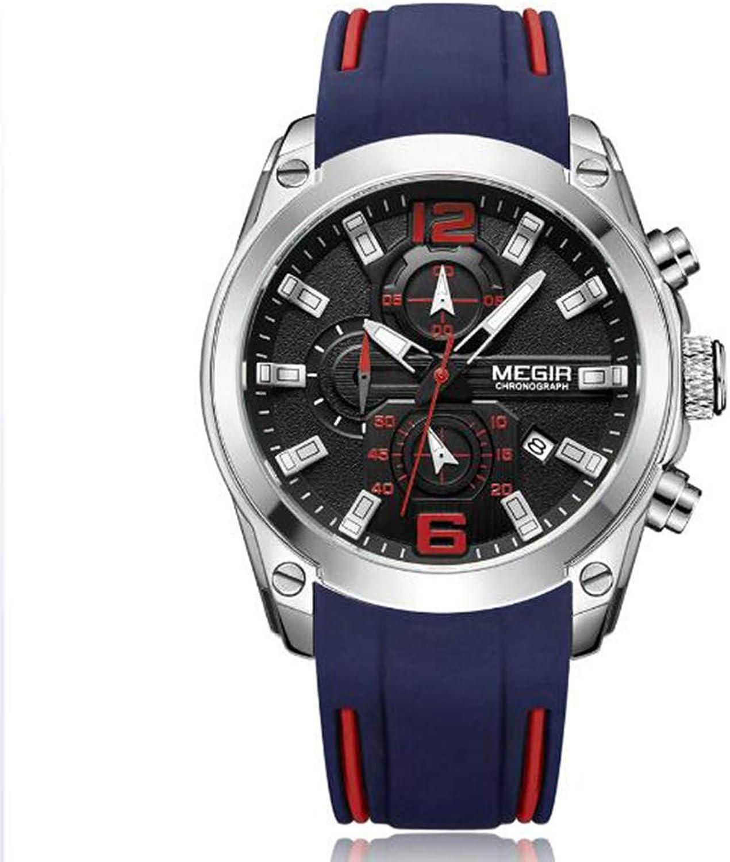 Watch, Multi-Function Timepiece, Sports Men's Watch, Quartz Male Watch, Luminous Decoration, Chronograph, Calendar, Spiral Crown