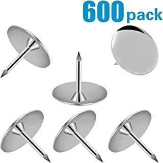 600 Pack Steel Thumb Tack, Thumb Tacks Push Pins Silver Round Head Pins Office Thumbtack, Push Pin for Home, School by Grtard, Sharp Steel Points 3/8 Inch Head, Silver,