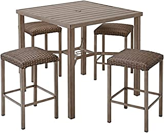 Meads Bay 5-Piece Patio Bar Table and Stool Set Bundled with Free Microfiber Cleaning Cloth