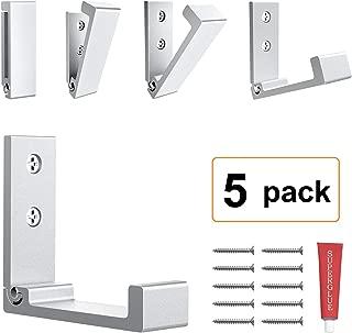Foldable Adhesive Hooks,Heavy Duty Wall Hooks Zn Cu Alloy Ultra Strong Waterproof Hanger for Robe, Coat, Towel, Keys, Bags, Home, Kitchen, Bathroom (Set of 5) (Silver)