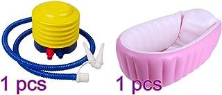 Lulalula - Bañera hinchable para bebé, portátil, para viajes, piscina, grueso, plegable, lavabo de ducha para bebé, antideslizante, con bomba de aire rosa rosa Talla:38