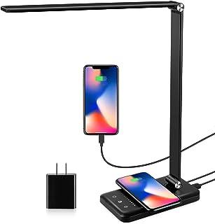 چراغ میز LED با شارژر بی سیم ، پورت شارژ USB ، لامپ های میز مراقبت از چشم مدرن برای دفتر خانه ، 5 حالت روشنایی و 10 سطح روشنایی ، میز میز روشن با لمس ، تایمر 30/60 مین