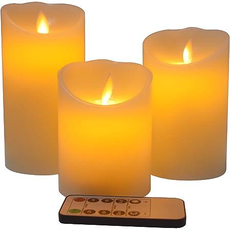 炎がないキャンドル 電池式LEDキャンドル 3つの点滅炎 10ボタンのリモコン 2、4、6、8時間タイマー 本物の蝋燭 円柱形 クリーム色蝋燭灯