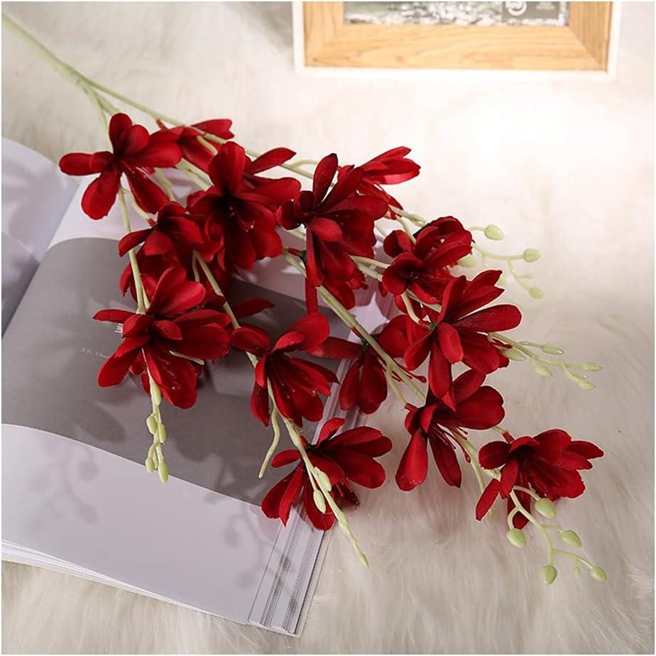 Hyjgjzjh Flores de seda para decoración del hogar, decoración de bodas, paisajismo, flores artificiales verdes, flores artificiales de magnolia (tamaño: rojo vino)