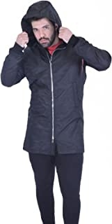 Men's Bomber Jacket Longline Fish Tail Plain Hood Long Sleeve with Transitional Front Zip S-2XL