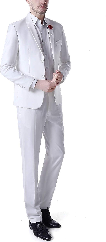 Men's 2 PC Ivory Wedding Suits Slim Fit Peak Lapel Prom Tuxedos Summer Suits Dinner Suits