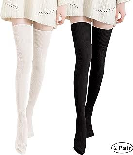 Thigh High Over Knee Socks for Women Girl,Winter Warm Crochet Long Socks Leg Warmer Leggings
