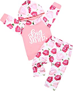 2pcs Baby Girl Clothes Fall Winter Long Sleeve Floral Print Hoodie + Pants Outfit Set
