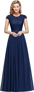 Women's Cap Sleeve Long Formal Bridesmaid Wedding Dress
