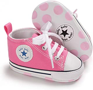 Baby Girls Boys Canvas Sneakers Soft Sole High-Top Ankle Infant First Walkers Crib Shoes