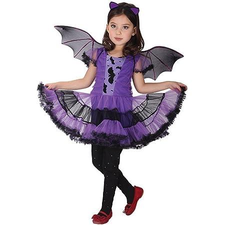3-4 ans GEMVIE D/éguisement Chauve-Souris Fille Costume Vampire Chauve-Souris Cosplay Halloween Toussaint Carnaval Soir/ée Robe Tutu pour Fille 3-12 Ans