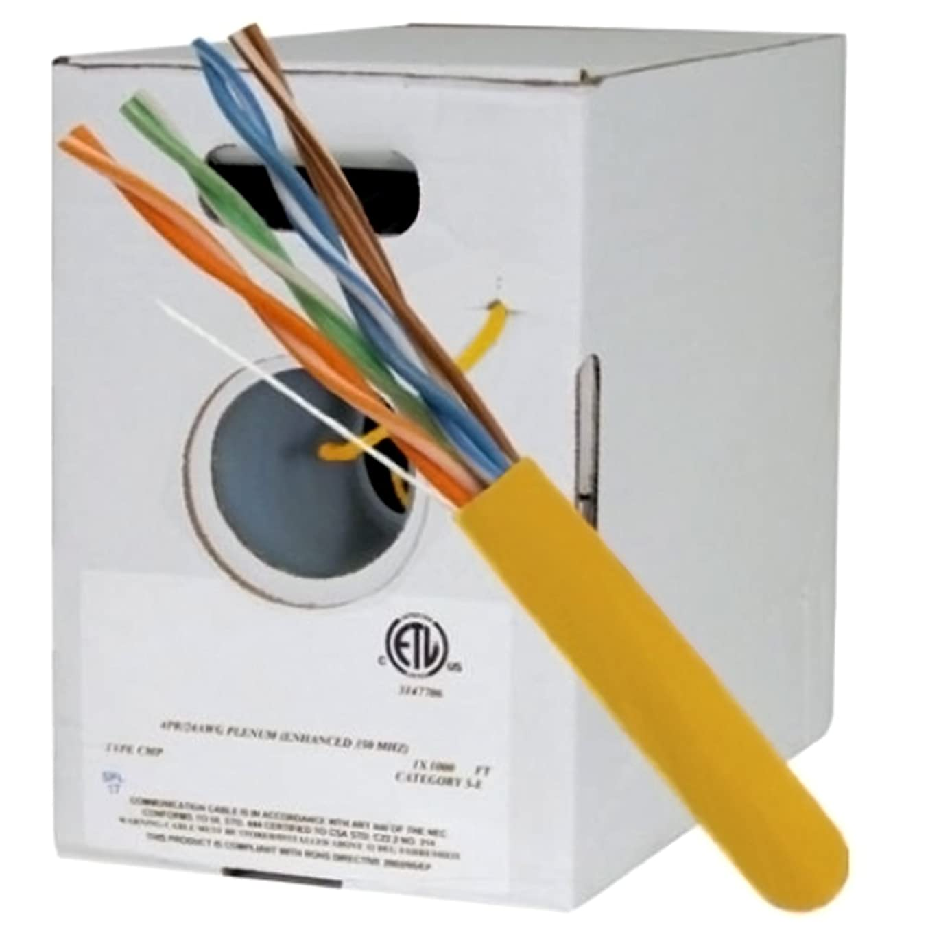 CAT5E, 350 MHz, UTP, 24AWG, 8C Solid Bare Copper, Plenum, 1000ft, Yellow, Bulk Ethernet Cable (Made in USA)