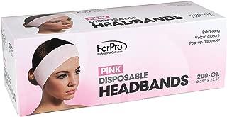 "ForPro Disposable Pink Headbands, Extra-Long, Velcro Closure, Pop-Up Dispenser, 2.25"" W x 25.5"" L, 200-Count"