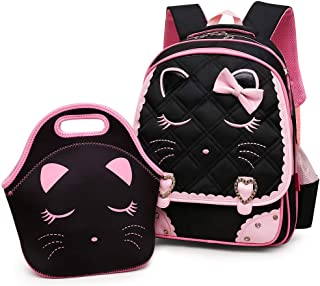 Cute Cat Face Bow Diamond Bling Waterproof Pink School Backpack Girls Book Bag