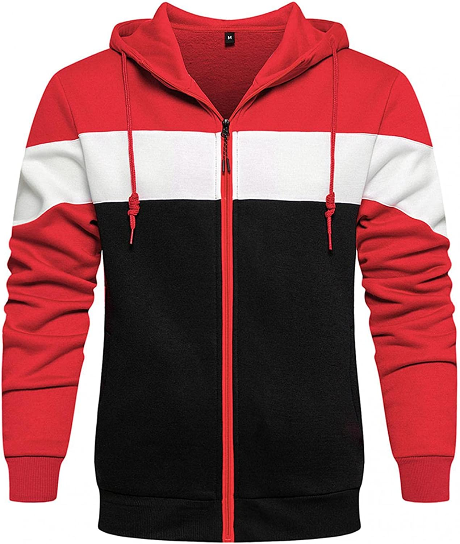XUNFUN Men's Athletic Fit Full Zip Fleece Hooded Sweatshirt Casual Slim Fit Color Block Long Sleeve Active Hoodies Jackets