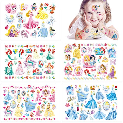 Qemsele Temporäre Tattoo Set Kinder, 10 Sheet 200+ Pcs Tattoos Aufkleber Sticker Wasserdicht Klebe-Tattoos Prinzessin Für Geschenktüten Kindergeburtstag Mitgebsel Mädchen Jungen Jugendliche
