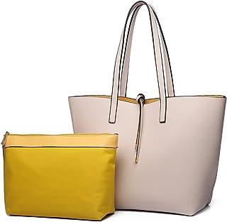 حقيبة يد للسيدات من Miss Lulu مصنوعة من الجلد الصناعي الناعم بمقبض علوي حقيبة ذات سعة واسعة مع شرابة تسوق