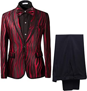 0ea52d541f1 Men s Suit Shawl Collar One Button Red Dress Suit Smart Fit Blazer and Pants
