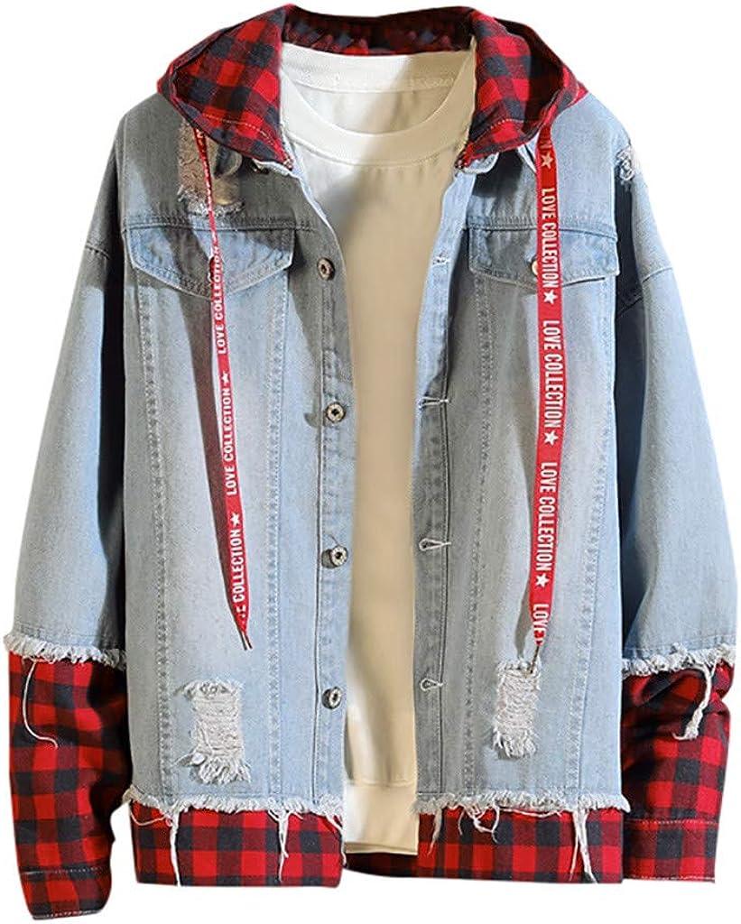 VEZAD Men's Denim Jacket Autumn Winter Casual Vintage Wash Coat