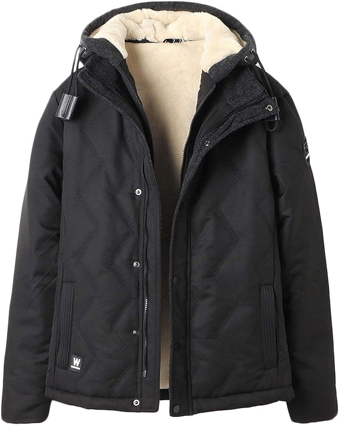 Jenkoon Men's Winter Warm Hooded Thickened Coat Faux Fur Lined Windbreaker