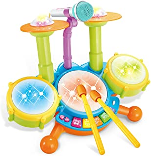Cozybuy Kids Drum Set, Electronic Musical Instruments Toddlers Toys with 2 Drum Sticks, Beats Flash Light and Adjustable M...