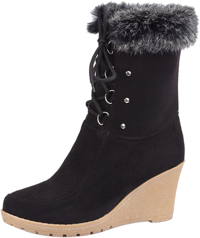RizaBina Women Winter Wedge Boots Lace Up