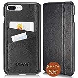KAVAJ Lederhülle Dallas geeignet für Apple iPhone 8 Plus iPhone 7 Plus Tasche Leder Schwarz Ledertasche mit Kartenfach aus Echtleder Hülle Hülle Lederhülle Ledercase Handyhülle Echtledertasche