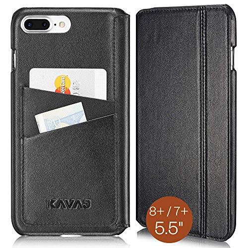 KAVAJ Lederhülle Dallas geeignet für Apple iPhone 8 Plus iPhone 7 Plus Tasche Leder Schwarz Ledertasche mit Kartenfach aus Echtleder Hülle Case Lederhülle Ledercase Handyhülle Echtledertasche