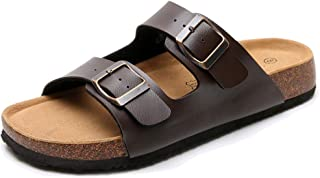 Women's Leather Flat Cork Sandals with Double Buckle Soft Cow Suede Open Toe Summer Slide Shoe