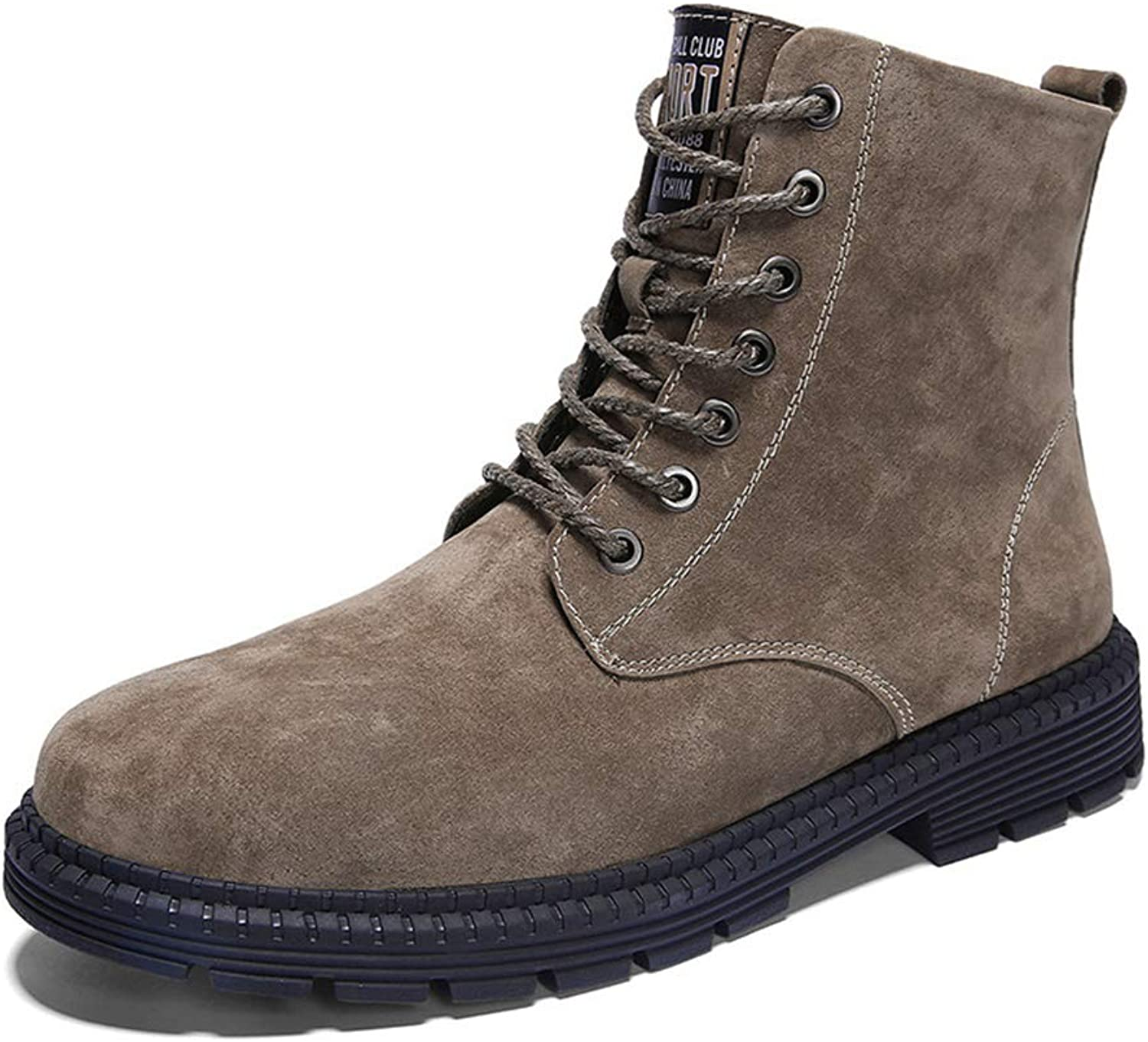 LEFT&RIGHT Men's Leather Martin Boots, Lace-Up shoes England Casual Ankle Boots Short Boots High shoes Winter Warm Snow shoes Outdoor Casual shoes