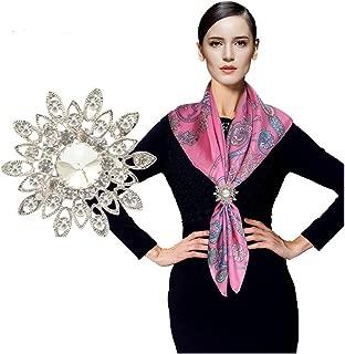CHUYUN Women's Elegant Three Ring Rhinestone Metallic Scarves Clip Fashionable Scarves Ring Chiffon Buckle