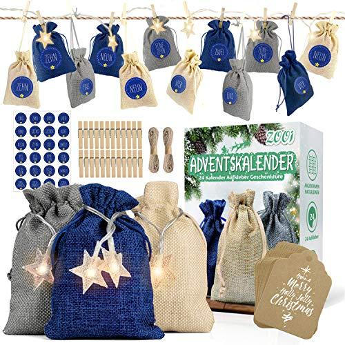 ZOOI Adventskalender zum Befüllen, 24 Stoffbeutel, 1-24 Adventszahlen Aufkleber und 3M 20LED, Weihnachten Geschenksäckchen, Adventskalender 2020, Weihnachtskalender Bastelset, Geschenk Verpackung
