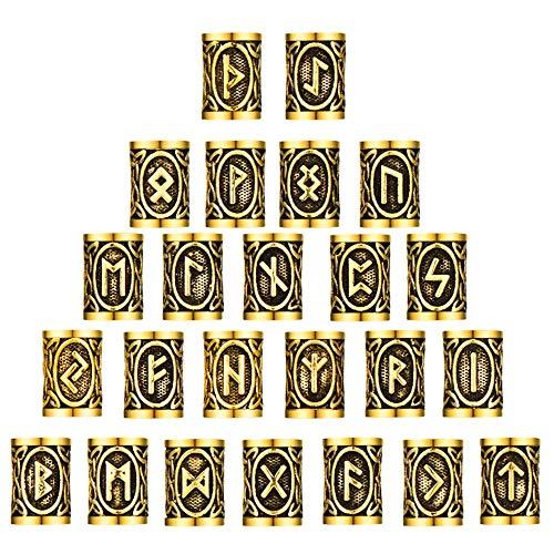 FOGAWA Vikings Runes Beads 24 Pcs Hair Tube Beads Celtic Norse Viking Beard Beads Dreadlocks for Beards Hair Paracord Pendants