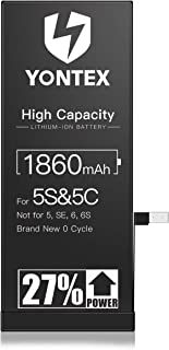 YONTEX iPhone 5S バッテリー 交換用 大容量 1860mAh PSE基準 交換キット付き [2年保証] iPhone 5C 互換リチウムイオンバッテリー
