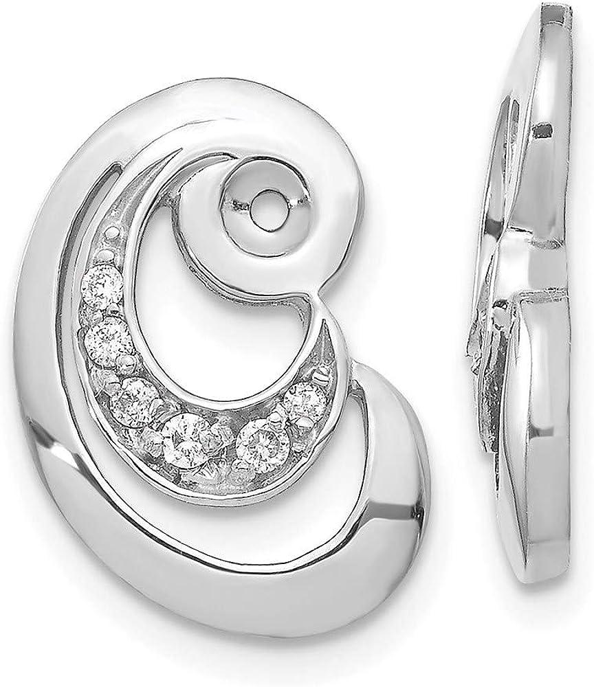 14k Fancy Curl White Diamond Earring Jackets Mountings 17mm 11mm style XJ30W