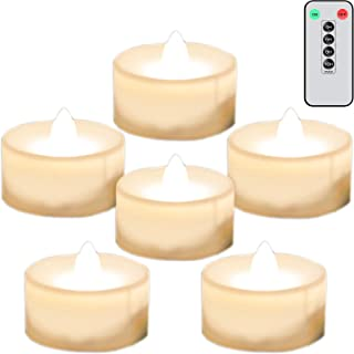 Neween Battery Tea Lights 6 Pack with Timer and Remote Control, Warm White Flickering Flameless LED Tea Light Battery Oper...