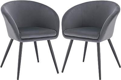 EUGAD 0320BY-2 2 Stücke Esszimmerstühle Küchenstuhl Wohnzimmerstuhl Polsterstuhl mit Armlehne, Retro Design, Samt, Metall, Dunkelgrau