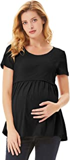 Maacie Womens Nursing Short Sleeve Crew Neck Breastfeeding T-Shirt Tops
