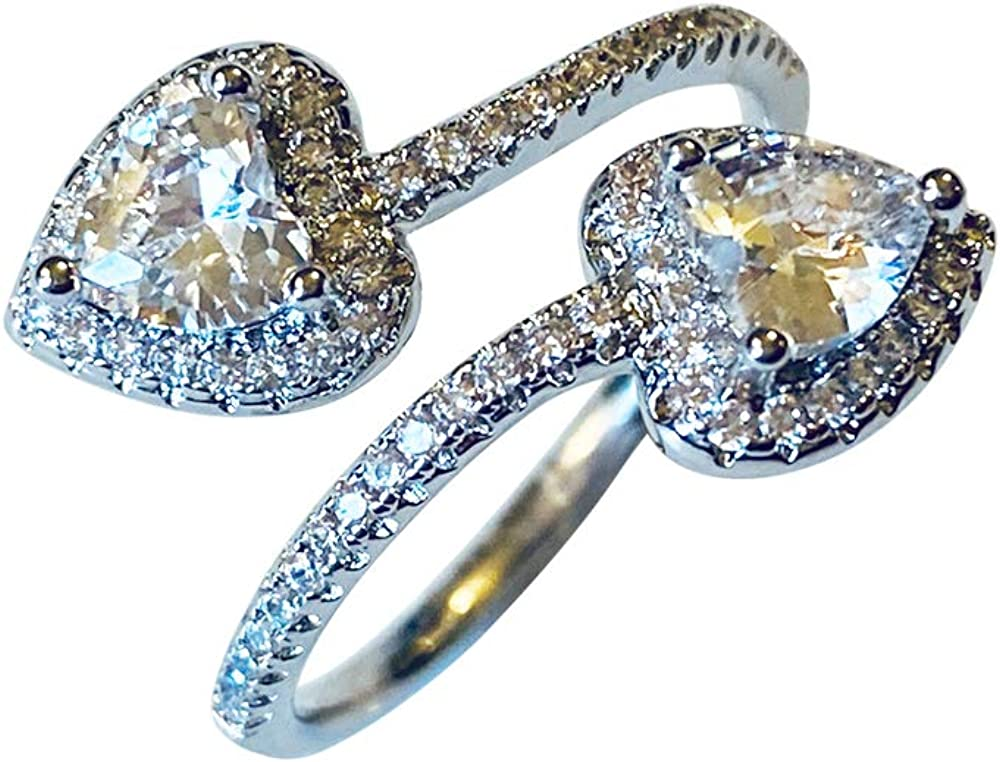 Double hearts Ring with shiny cubic Choice zirconia Reservation or for him. her